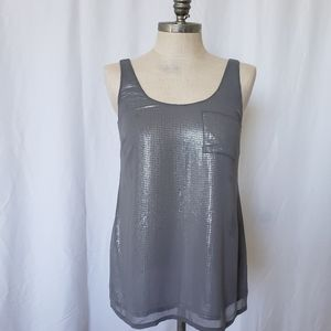 A PEA IN THE POD gray sequin front semi sheer top